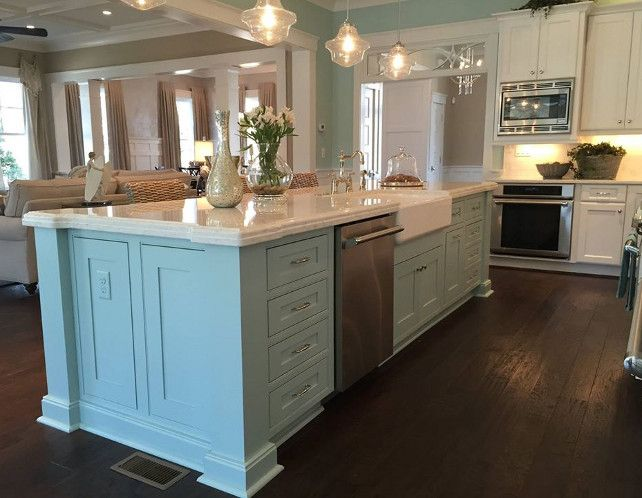 kitchen with turquoise aqua blue island coastal kitchen how to update a builder grade kitchen island with trim and