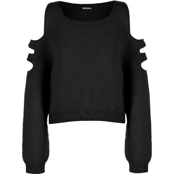 Aniya Knitted Off Shoulder Jumper ($23) ❤ liked on Polyvore featuring tops, sweaters, black, cropped sweater, off the shoulder tops, cut out shoulder top, cut out crop top and cold shoulder sweater