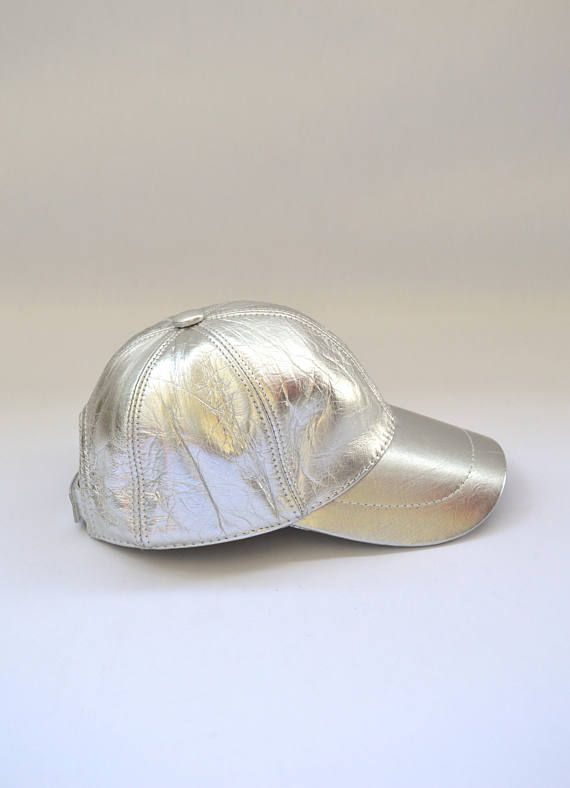 Genuine leather cap leather hat leather jockey in silver