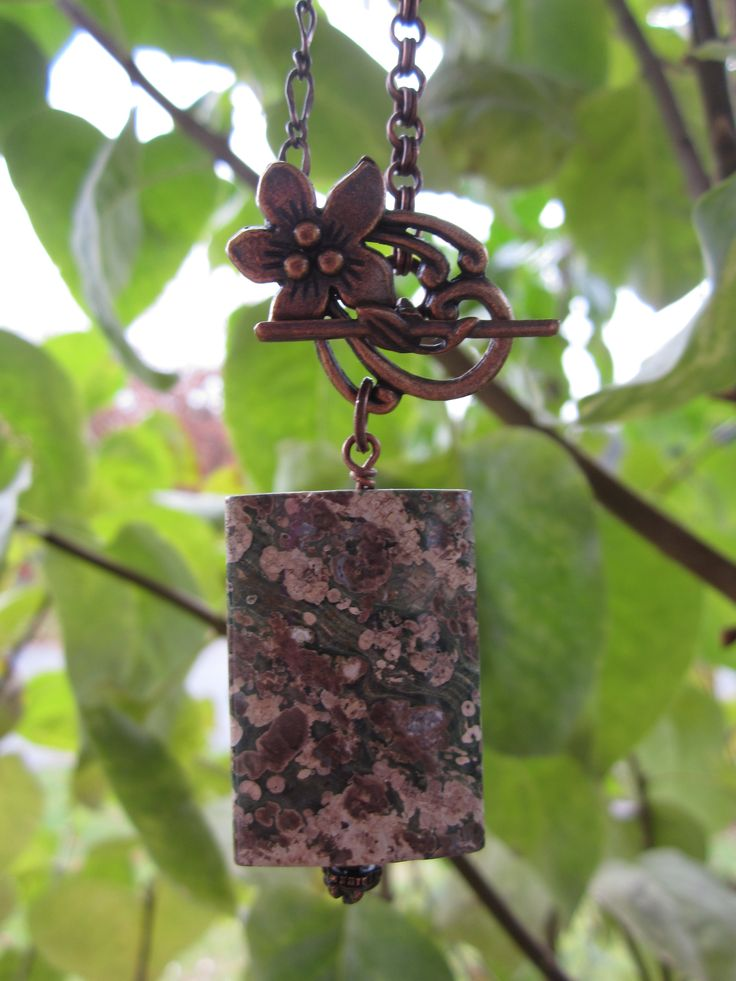 Fossil jasper necklace with antique copper