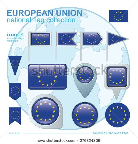 Flag of European union  icon collection, vector illustration