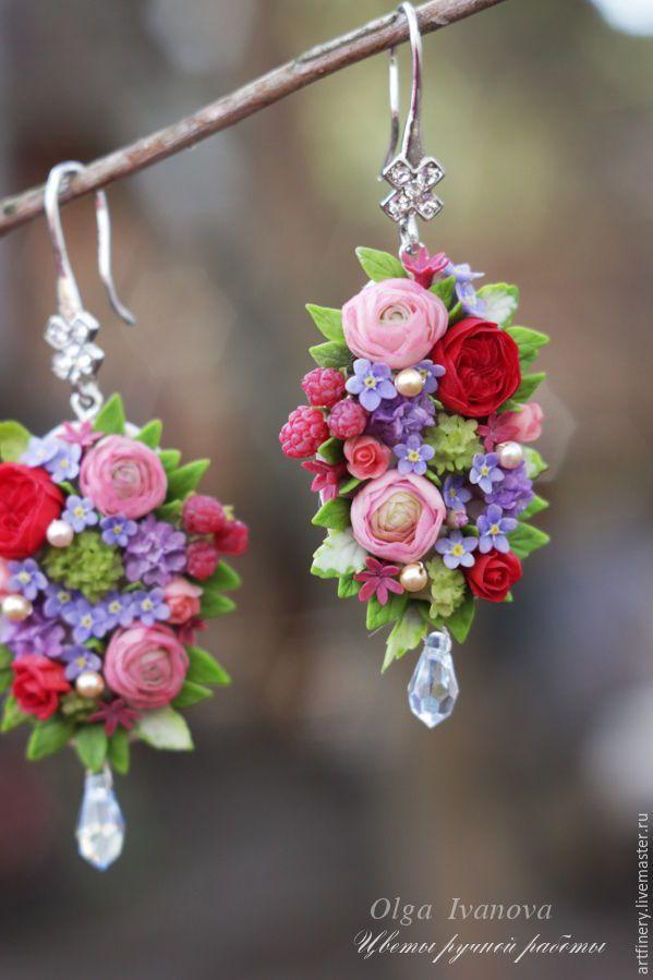 """Beautiful flower polymer clay earrings / Купить Серьги-капли """"Страсть и нежность"""". - розовый, серьги, полимерная глина, миниатюра, керамическая флористика"""