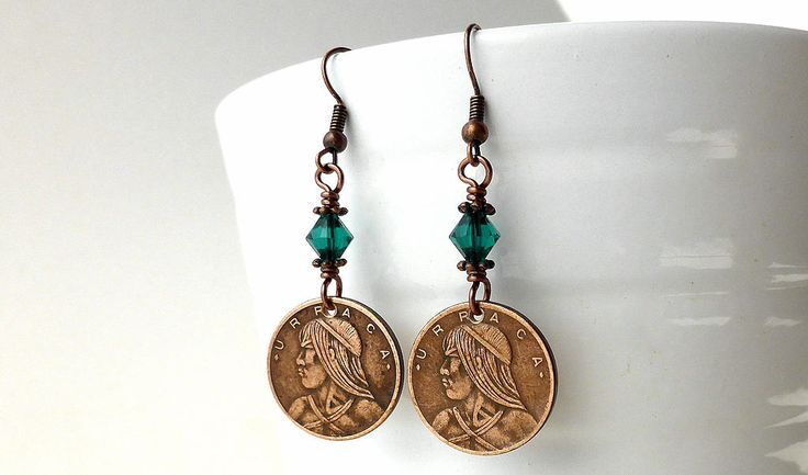 Coin earrings, Panamanian, Native American, Coin jewelry, Swarovski earrings, May birthstone, Emerald crystals, Vintage earrings, Coin, 1982 by CoinStories on Etsy