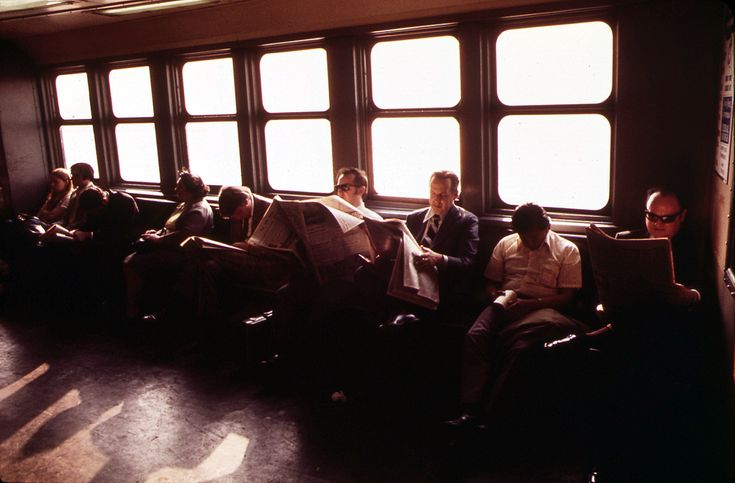 Commuters on the Staten Island Ferry in New York Harbor's Upper Bay, in May of 1973. (Wil Blanche/NARA)