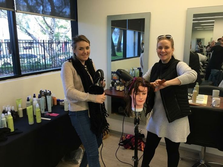 Jaki and Rach at Aveda training