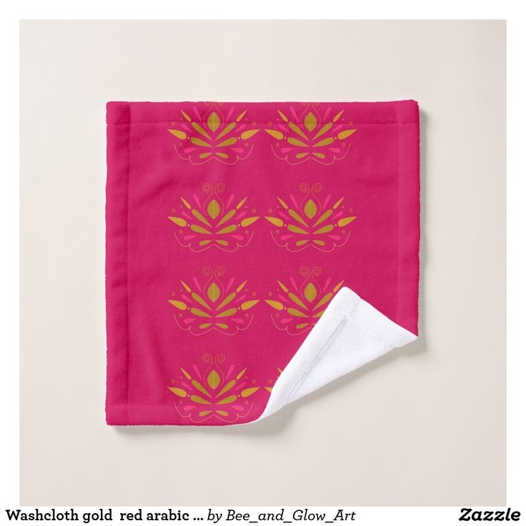 Washcloth gold  red arabic deco