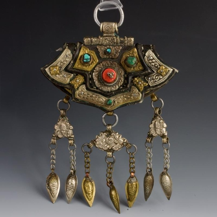 hbet101gh(e)-Antique leather and silver purse with coral and turquoise, Tibet, early 20th century