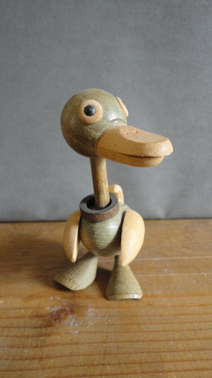 Danish modern wood Duck art figurine Kay Bojesen manner