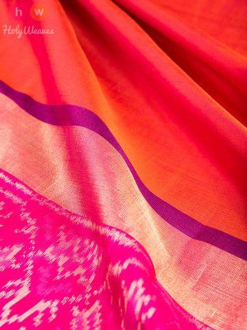 Orange Handwoven Katan Silk Pochampally Saree
