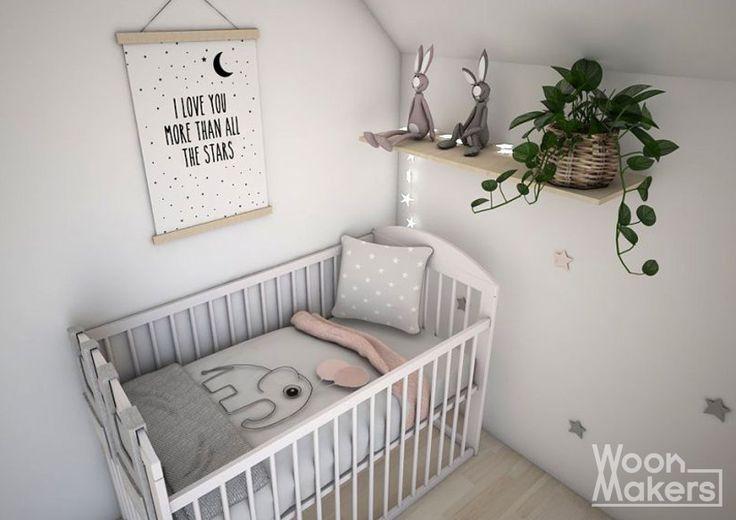 Frisse, Scandinavische babykamer voor een meisje. Sterren op de muur en licht roze details. Little pink star by Woonmakers