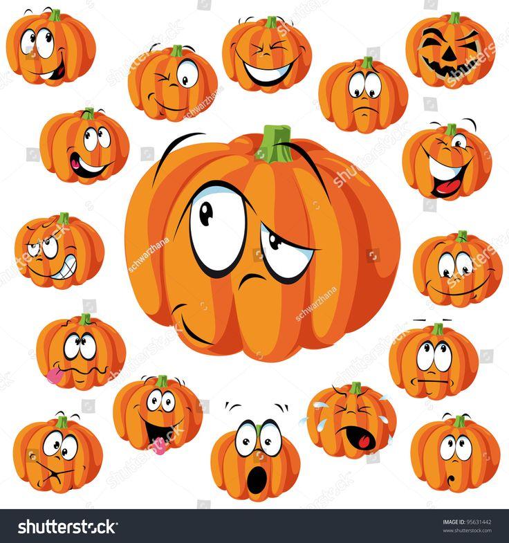 pumpkin cartoon with many expressions Halloween cartoons