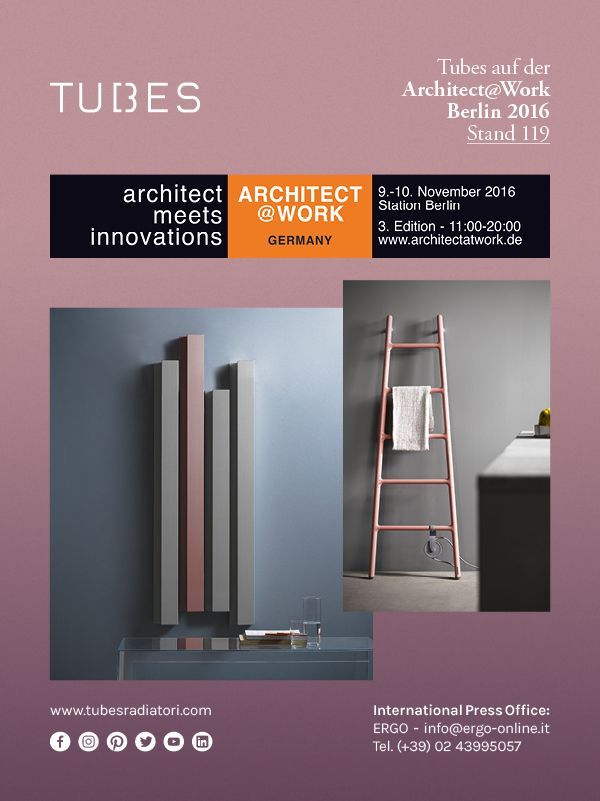 Another appointment with innovation!  For two days, 9 and 10 November, Tubes will be in Berlin for  ARCHITECTS@WORK, one of the world's most successful professional events for architects.  Come and visit our Stand no. 119!  More info here: http://berlin.architectatwork.de/en/home/ #Tubesradiatori #Architects #Event #Berlin