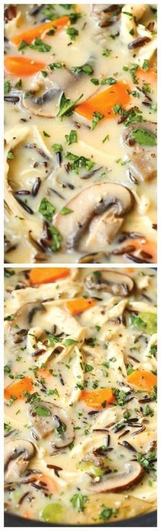 Slow Cooker Chicken and Wild Rice Soup ~ Pure creamy comfort food made right in your crockpot... So quick, easy, and hearty loaded veggies, rice and chicken!