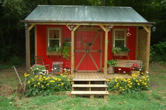 Shed with porch the nest pinterest for Shed with porch