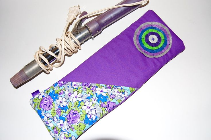 Curling Iron Case, Flat Iron Holder, Hot Iron Sleeve, Purple Iron Holder, Flat Iron Case, Flat Iron Pouch, Floral Iron Bag, Great Gift by Sewmuchfunstuff on Etsy
