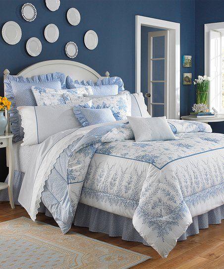 Laura Ashley Home® Blue Sophia Four-Piece Reversible Comforter Set | zulily