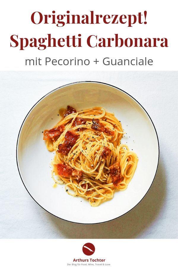 Spaghetti Carbonara {Originalrezept mit Guanciale und Pecorino}. Dazu gibt es eine Empfehlung für den passenden Pasta-Wein. Aus der Reihe: Die Nudel der Woche