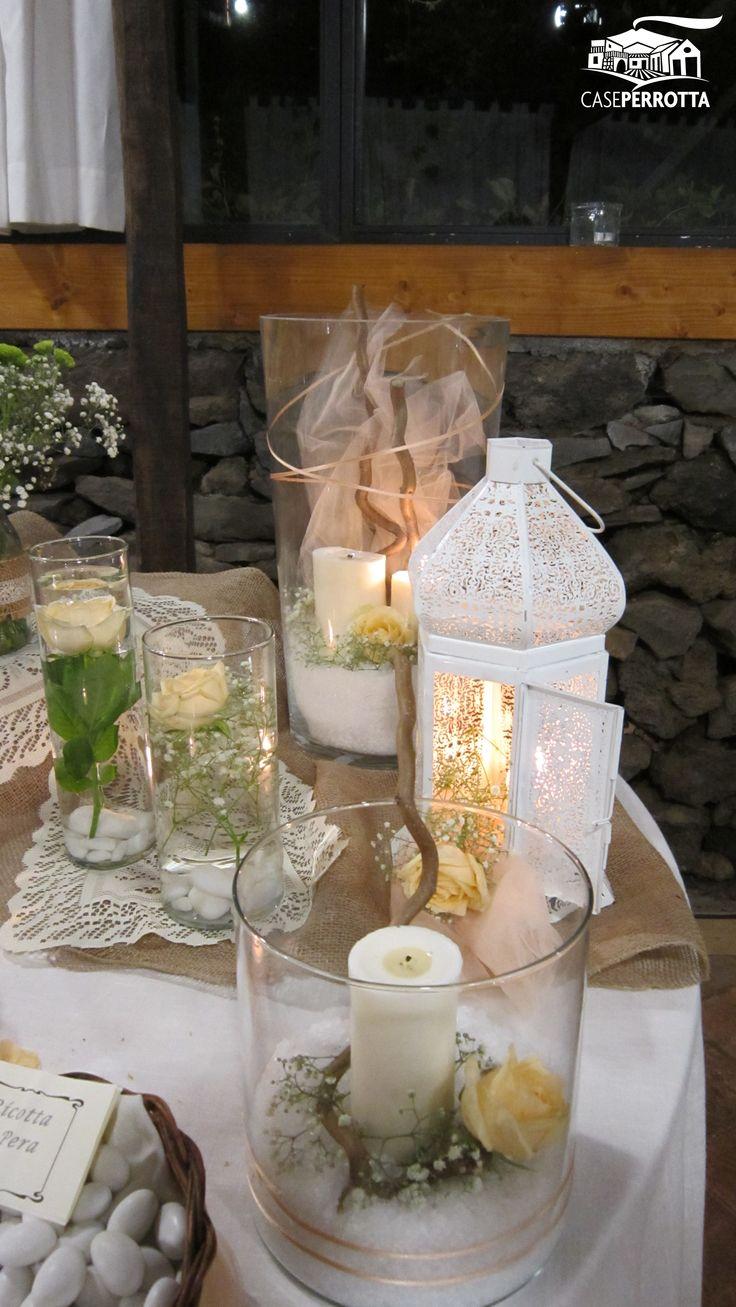 Dettaglio tavolo dei confetti per nozze shabby chic