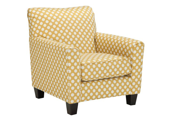 Brindon YellowAccent Chair The sleek mid-century lines of the Brindonchair are always in vogue. With a neatly tailored box cushion and padded arms, thispolka dotchair is supremely comfortable and stylish. Linen blend upholstery and piping further refine the silhouette.