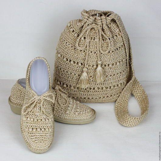Обувь ручной работы. Ярмарка Мастеров - ручная работа. Купить Комплект сумка обувь вязаный. Handmade. Бежевый, обувь летняя