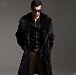 Online Shop Mens long cheap faux fur coat winter fashion leather jacket with fur hood black coat fur collar and cuffs jackets xxxl FFM004|Aliexpress Mobile