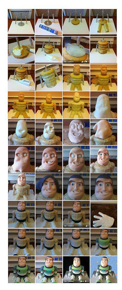 Great picture tutorial for making Buzz Light Year cake.