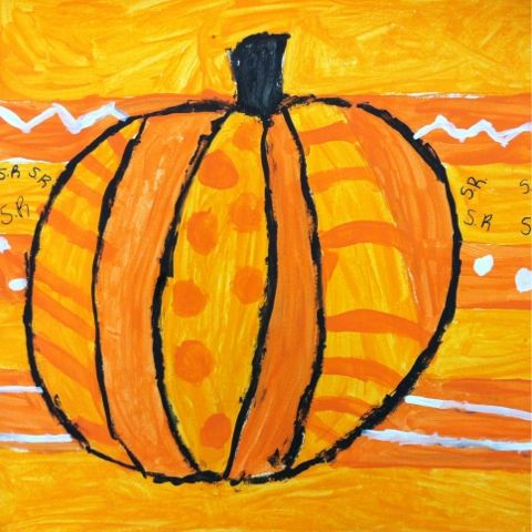 pumpkins in the style of romero britto from we heart art kindergarten - Halloween Art For Kindergarten