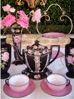 Antique Late 1800s Victorian Teapot and Vases with High Tea Stand...  ღ ღ Pink & Black ღ ღ