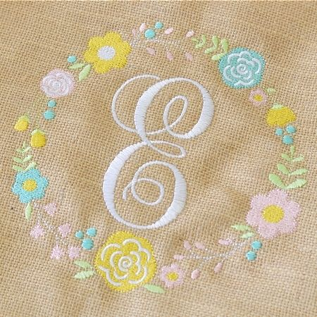 Floral Wreath Alpha - Monogram - Planet Applique - Girl - Monogram Frame - Flowers - Spring Summer