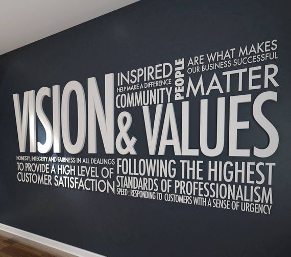 Vision & Values 3D Letters Office Wall Art Wall Decal ...