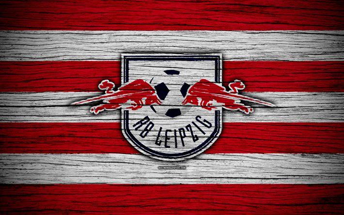 Download wallpapers RB Leipzig, 4k, Bundesliga, logo, Germany, wooden texture, FC RB Leipzig, soccer, football, RB Leipzig FC