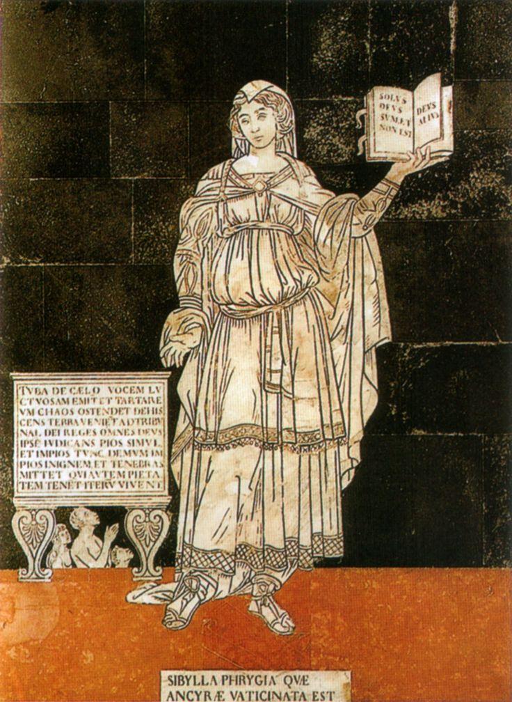 """Pavimento del Duomo di Siena - Navata sinistra - Sibilla Frigia - ca. 1483; Alla sua destra è riportata l'iscrizione: """"La tromba emetterà dal cielo un suono funereo. La terra aprendosi farà scorgere il caos tartareo. Tutti i re compariranno innanzi al tribunale di Dio. Dio stesso giudicando contemporaneamente i pii e gli empi, solo allora getterà gli empi nel fuoco delle tenebre. Coloro che invece conserveranno la rettitudine, vivranno di nuovo"""". #Siena #DuomoDiSiena…"""