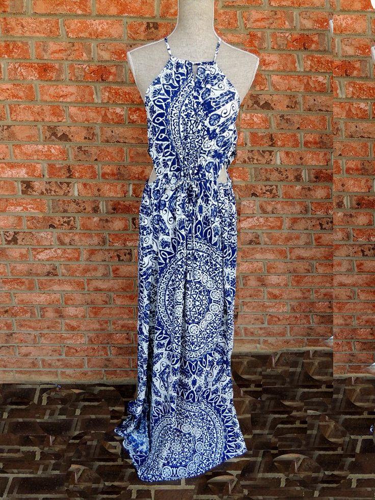Morro Bay Cut-Out Maxi Dress- Blue + White