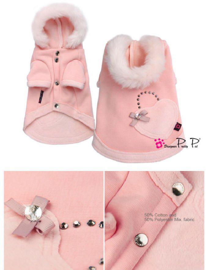 Pretty In Pink Heart Hoodie Dog Coat