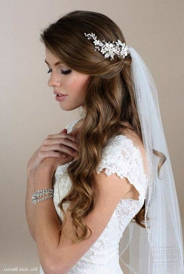 20 Wedding Hairstyles For Long Hair With Veils In 2020 Wedding Hair Down Veil Hairstyles Wedding Hair Half
