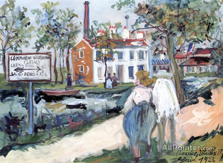 Maurice Utrillo Factory At Villetaneuse oil painting reproductions for sale