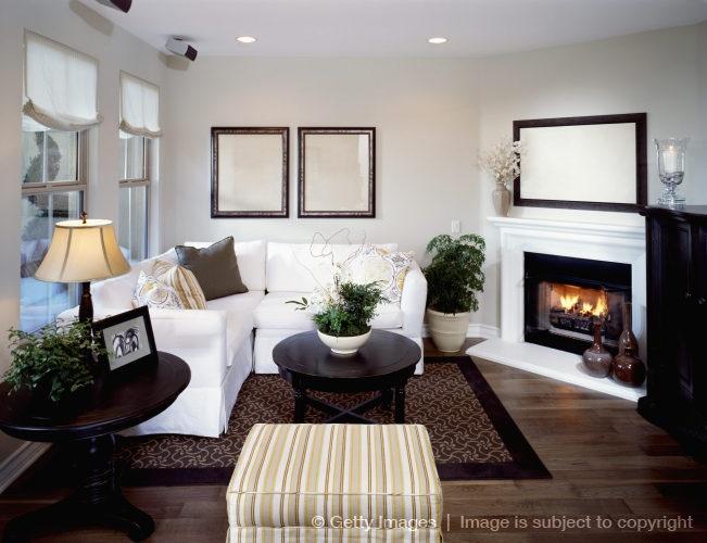 Furniture around corner fireplace.   Home   Pinterest