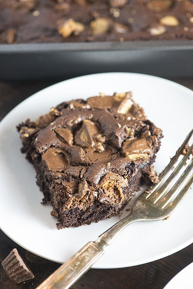 This chocolate dump cake gets all crazy delicious with a sprinkling of chopped…