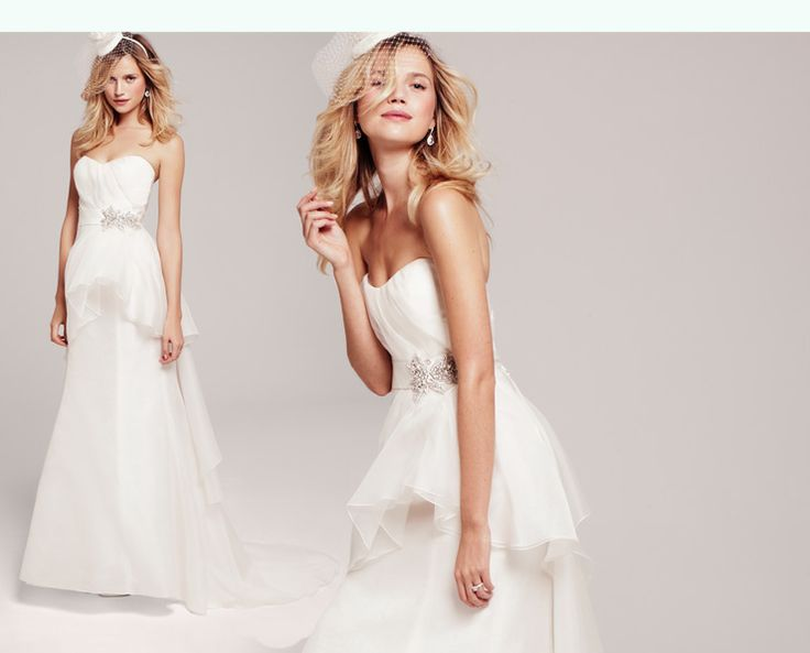 Nordstrom.com - NOUVELLE Amsale Wedding Gowns Lookbook | Peplum Strapless Gown (#R112G) | Romantic peplum adds a playful touch to an ethereal, strapless chiffon gown, bolstered by a ruched bodice and topped off with a jeweled belt. $2,800