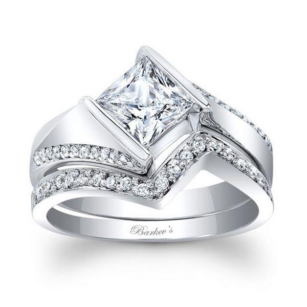 Fancy Barkev us Designer k White Gold ct TDW Princess cut Diamond Bridal Set