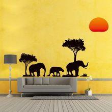 89 * 37cm Slon africký Sunset Stromy Wall samolepka Art Animal Decor Materská Materská office sofa pozadia ozdobné nálepky (Čína (pevninská časť))