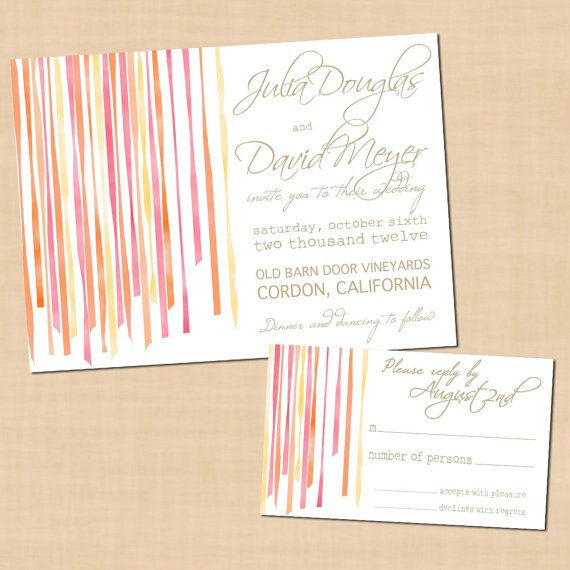 Ribbon Steamers - Printable Wedding Invitation and RSVP (7 x 5) via Etsy
