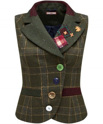 """Go a little quirky with this green checked waistcoat, complete with pretty applique, functional jet pockets and a centre back vent. It's perfect for dressing up a casual outfit with a little personality. Approx Length: 55cm Our model is: 5'7""""  Blouse  sold separately"""