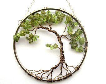 Peridot-Grün Olive Bonsai Draht Lebensbaum Wandbehang, Sun Catcher, Peridot, grün Dekor, Weisheit, Frieden, Erde