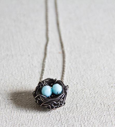 Bird's Nest Silver Necklace