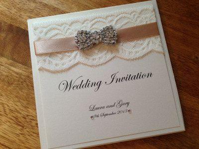 Handmade Wedding Invitation Pocketfold Tuscany, Lace, Vintage, Luxury - Any Colour