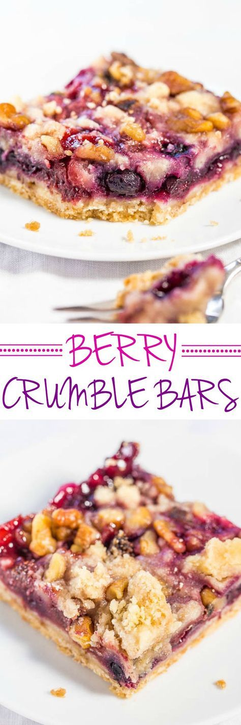 Berry Crumble Bars - Big buttery crumbles top the soft, juicy bars packed with blueberries, raspberries and strawberries! Easy, no mixer recipe that's irresistible!! (Frozen fruit okay!)