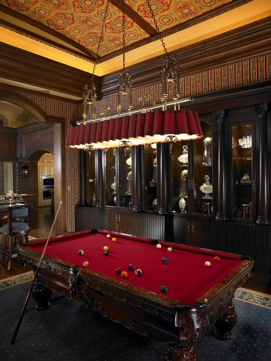 www.fopaky.com Google: luxury pool table light Home Design: Mediterranean Home Billiard Room