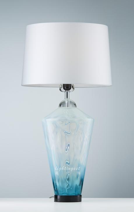 Jane European Mediterranean desk lamp【最灯饰】3月新品简欧地中海水蓝色设计师样板房柔美玻璃台灯