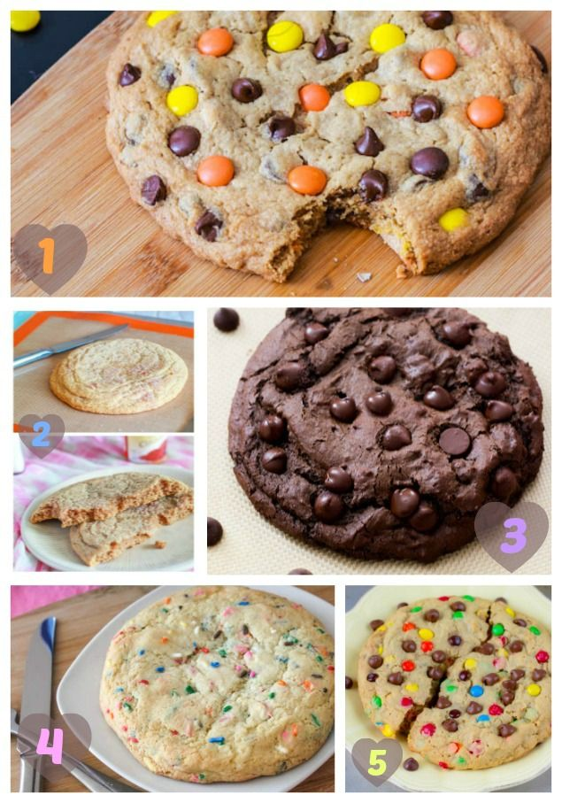 5 Giant Cookie Recipes - perfect for sharing and ready in only 20 minutes! Ideal Christmas bake. Sugar cookies, chocolate cookies, monster cookies, snickerdoodles, and peanut butter cookies.